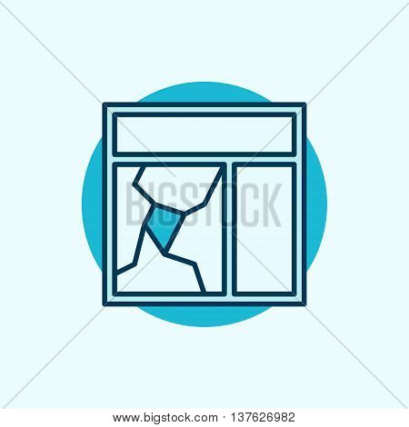 Broken window glass icon. Vector blue broken window concept symbol or logo element