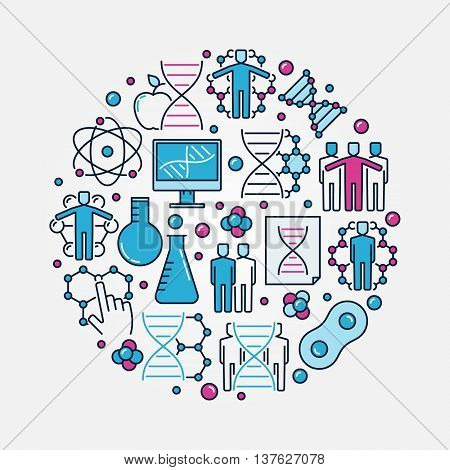 DNA and genetics concept illustration. Vector round science colorful symbol. Flat human cloning sign