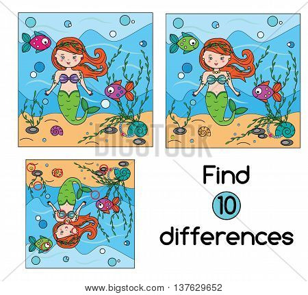 Find the differences educational children game with answer. Kids activity sheet. Vector illustration with mermaid
