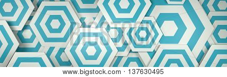 3D White And Blue Hexangon Background (website Head)