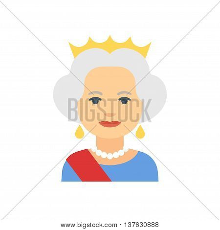 July 16, 2016: Flat cartoon vector illustration of Queen Elizabeth II isolated on white.