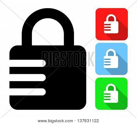 Closed Combination Lock. Vector Illustration Of A Closed Combination Lock With It's Color Variations