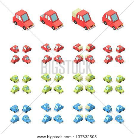 Vector isometric icon set or infographic element set representing private cars cartoon hatchback and sedan car with front and rear views.