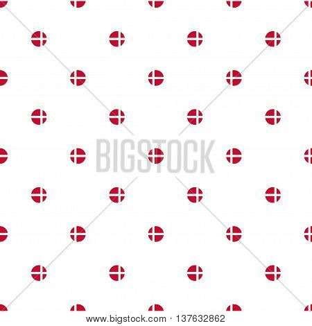 Seamless polka dot pattern of stylized flags of Denmark. Constitution or National Day flat staggered seamless pattern. Colors of Danish flag. Happy Constitution day of Denmark background.
