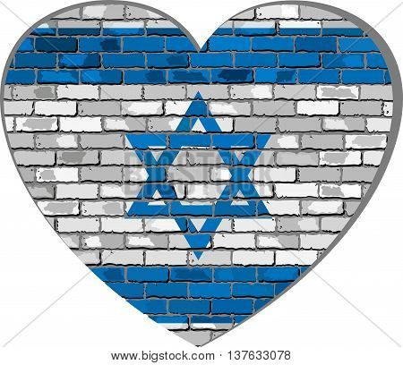 Flag of Israel on a brick wall in heart shape - Illustration, Israeli flag in brick style,  Abstract grunge Israel flag