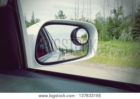 side rear view mirror on a car retro style