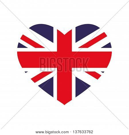 United kingdom concept represented by flag and heart shape icon. Isolated and flat illustration