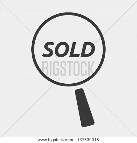 Isolated Magnifying Glass Icon Focusing    The Text Sold