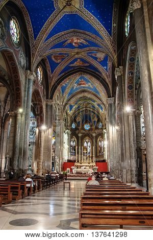 ROME, ITALY - MAY 12, 2012: Interior view of Church Santa Maria Minerva
