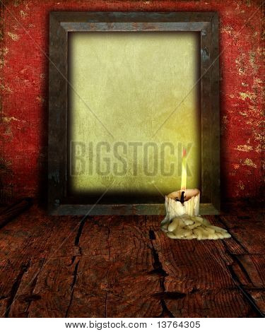 Candle Stubb And Empty Picture Frame