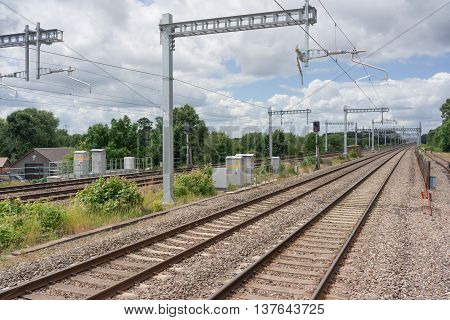 Cholsey/UK. 3rd July 2016. The wires are now in place as part of the Great Western mainline electrification upgrade.
