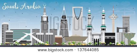 Saudi Arabia Skyline with Landmarks and Blue Sky. Vector Illustration. Business Travel and Tourism Concept. Image for Presentation Banner Placard and Web Site.