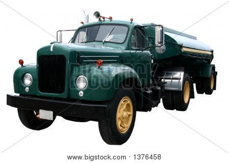 This is a dark green front view of a fuel tanker truck and trailer isolated on white. poster