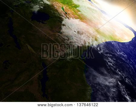 Tanzania From Space During Sunrise