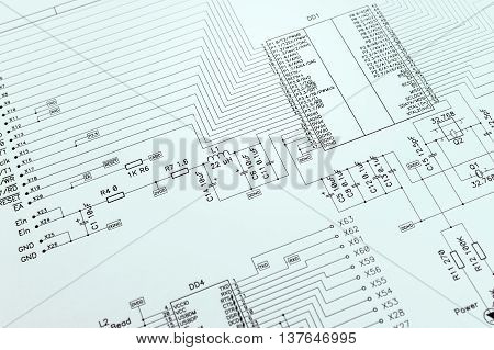 Schematic Diagram Closeup Photo