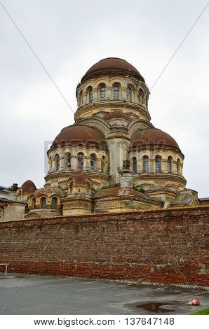 Saint-Petersburg.Stone Church crowned with five cupolas built in the style of the temples of ancient Byzantium.