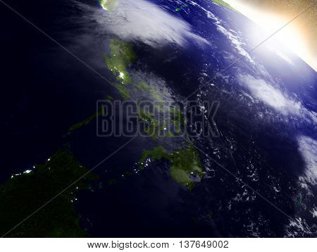 Philippines From Space During Sunrise