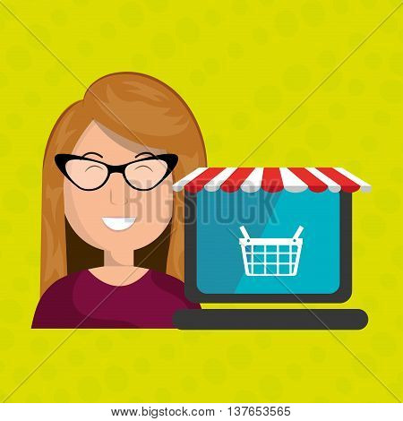 Business internet online ecommerce buy isolated, vector illustration