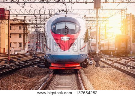 Modern high-speed train departs from Moscow. Russia.