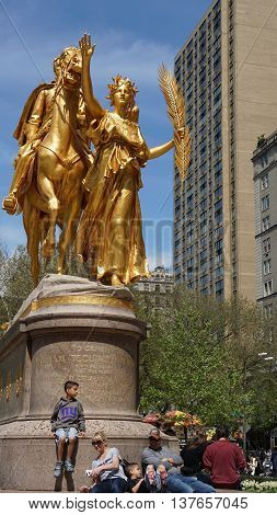 NEW YORK, NY - APR 30: William Tecumseh Sherman statue near Central Park in New York, as seen on Apr 30, 2016. It is a majestic, gilded-bronze equestrian group statue.