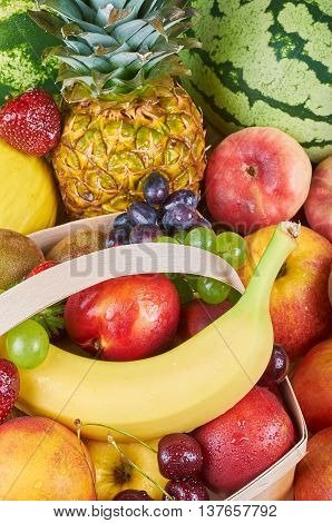 Assortment of exotic fruits on a wooden table