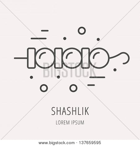 logo or label meal. Line style logotype template with shashlik. Easy to use business template. Vector abstract logo or emblem.