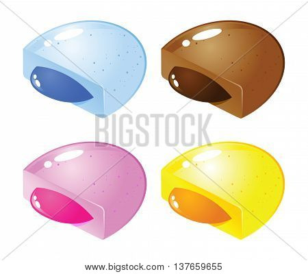 Vector stock of colorful candy with fruity jelly or syrup filling inside