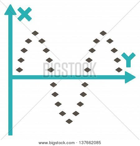 Dotted Sinusoid Plot vector toolbar icon. Style is bicolor flat icon symbol, grey and cyan colors, white background, rhombus dots.