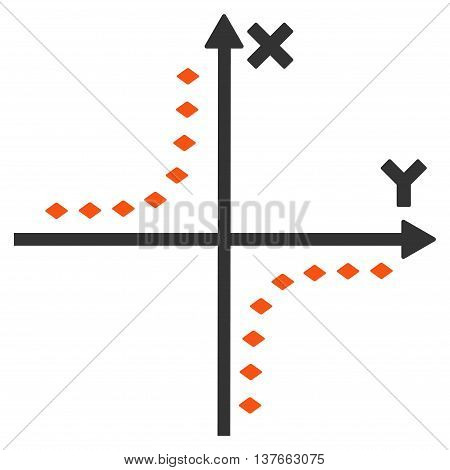 Dotted Hyperbola Plot vector toolbar icon. Style is bicolor flat icon symbol, orange and gray colors, white background, rhombus dots.