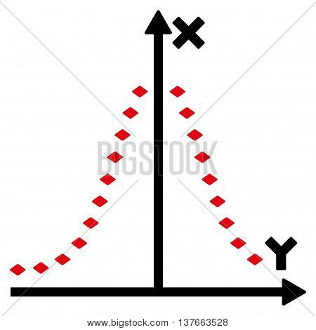 Dotted Gauss Plot vector toolbar icon. Style is bicolor flat icon symbol, intensive red and black colors, white background, rhombus dots. poster