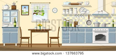 Illustration of a classic kitchen with some utensil