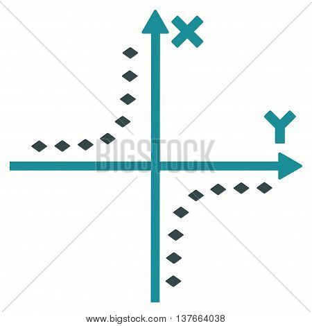 Dotted Hyperbola Plot vector toolbar icon. Style is bicolor flat icon symbol, soft blue colors, white background, rhombus dots.