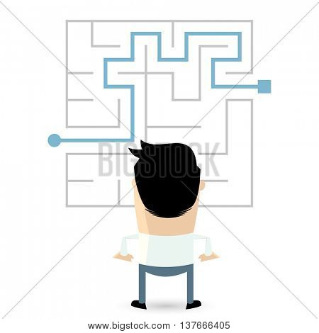 businessman standing in front of a maze with a solution to success