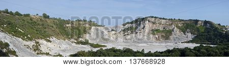 Panoramic view of the Solfatara volcan in Pozzuoli Naples Italy