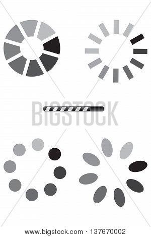 Collection black white preloaders downloading loading upload