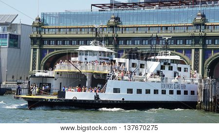 NEW YORK, NY - JUN 19: Governors Island Ferry in New York, as seen on June 19, 2016. Since its transfer in 2003, Governors Island has been open to the public on weekends during the summer.