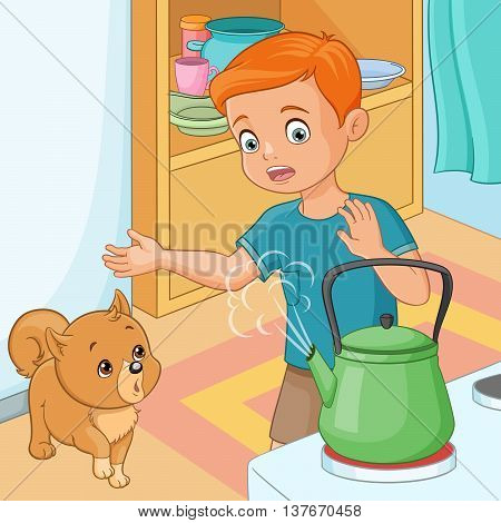 Cute young boy is being wary of hot kettle in kitchen. Vector illustration.