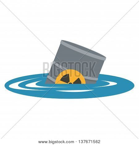 flat design toxic waste contamination on water icon vector illustration