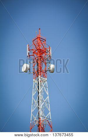 phone antenna used to transmit telephone signals.Blue sky background