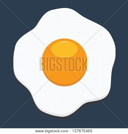 Fried egg icon with flat color style isolated with solid background. Fresh scrambled egg and fried egg delicious cuisine dish.