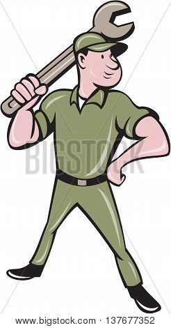 Illustration of a mechanic standing wielding holding spanner wrench looking to the side viewed from front set on isolated white background done in cartoon style.