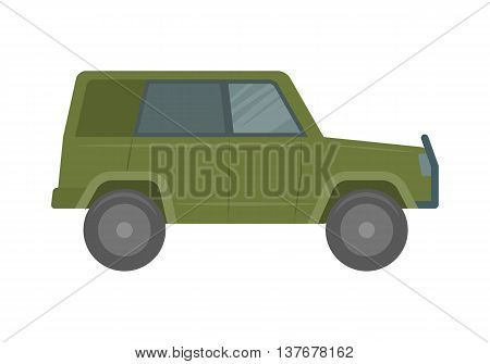 The vehicle of the increased passability for travel, active recreation, hunting, a safari and the hard purposes. Car vector flat illustration