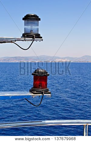 Navigation lights on the bow of a passenger ferry
