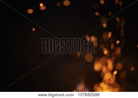 blurred flames in fireplace with beautiful bokeh, background photo