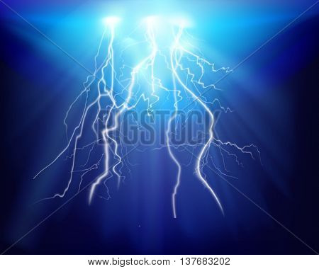Discharge of electricity. Vector illustration.