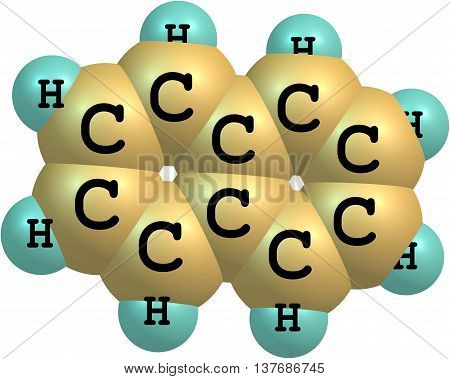 Naphthalene is an organic compound with formula C10H8. It is the simplest polycyclic aromatic hydrocarbon and is a white crystalline solid with a characteristic odor. 3d illustration