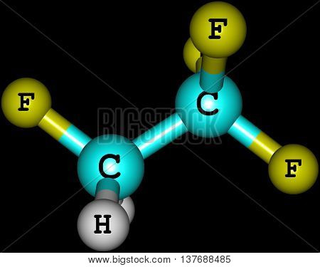 Tetrafluoroethane - R-134a Forane 134a Genetron 134a Florasol 134a - is a haloalkane refrigerant with thermodynamic properties similar to dichlorodifluoromethane. 3d illustration