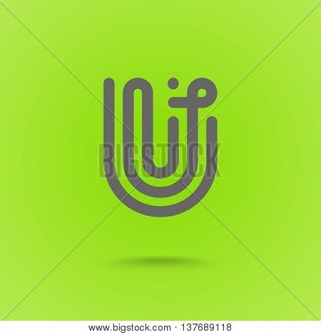 U Letter. U type line shape. U Line Logo Design Element Type. Letter U on Green Background. Vector Illustration
