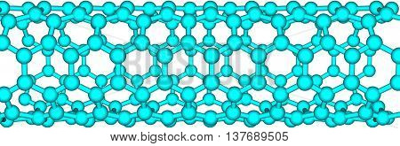 Isolated illustration of carbon nanotube. 3d illustration