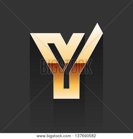 Vector Gold Letter Y Shape Logo Element on Dark Background.